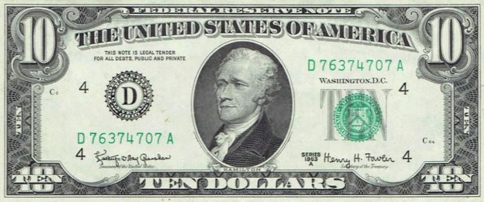 1963 10 Dollar Bill