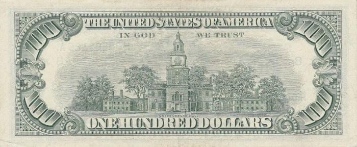1963 100 Dollar Bill Reverse