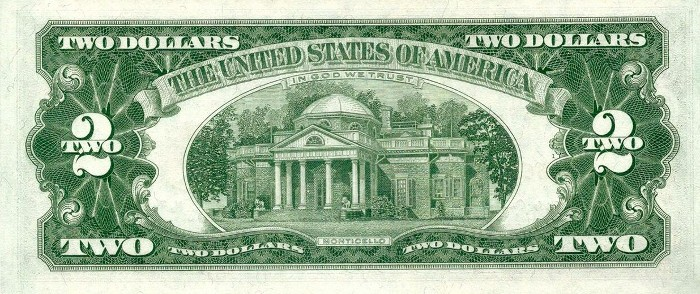 1963 2 Dollar Bill Back