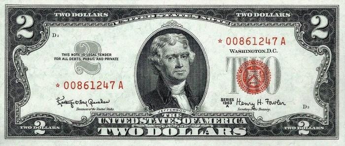 1963 2 Dollar Bill Star Note