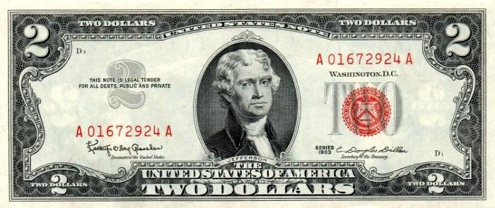1963 2 Dollar Bill
