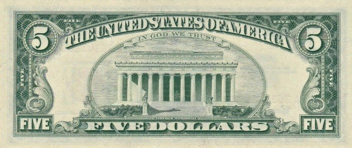 1963 5 Dollar Bill Reverse