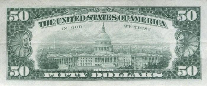 1963 50 Dollar Bill Reverse