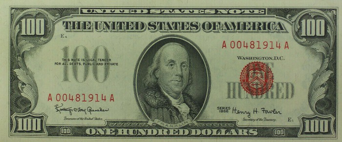 1966 Series 100 Dollar Bill