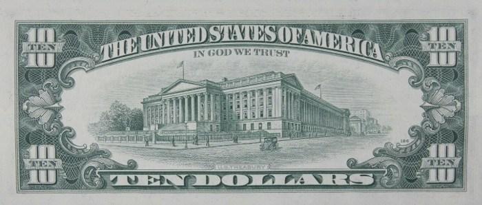 1969 10 Dollar Bill Reverse