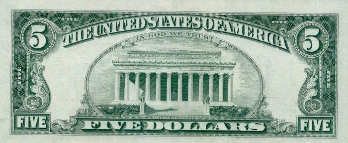 1969 5 Dollar Bill Reverse