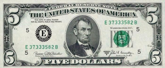 1969 5 Dollar Bill