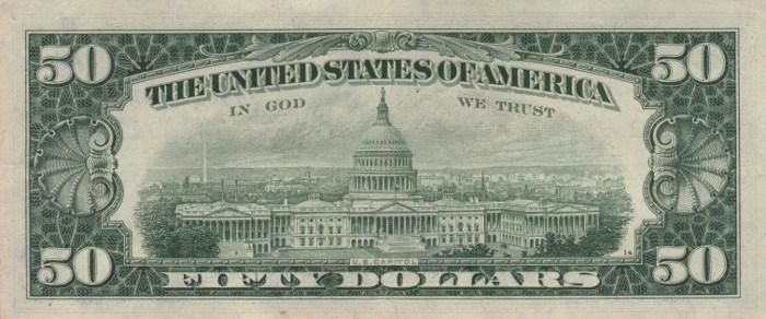1969 50 Dollar Bill Reverse