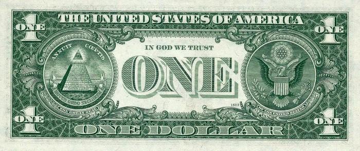 1969 One Dollar Bill Reverse