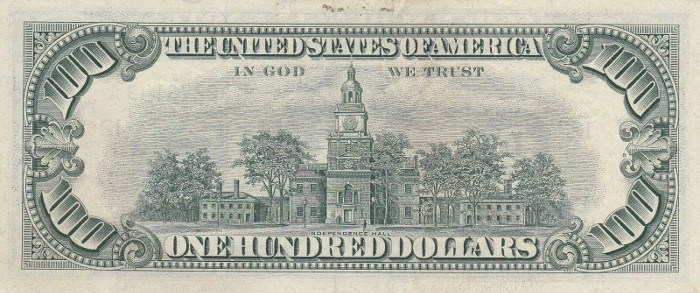 1969 Series 100 Dollar Bill Reverse