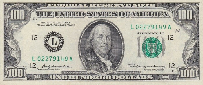 1969 Series 100 Dollar Bill