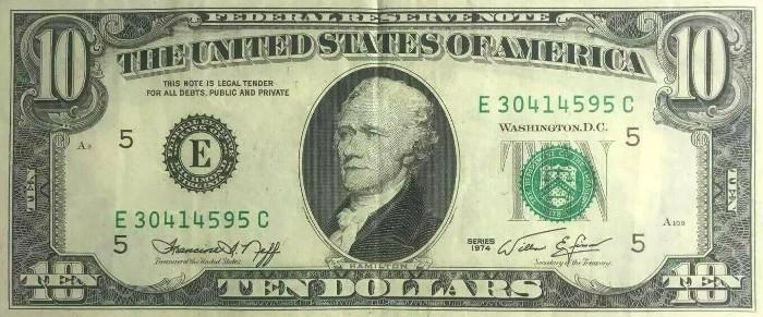 1974 10 Dollar Bill
