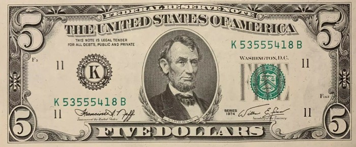 1974 5 Dollar Bill
