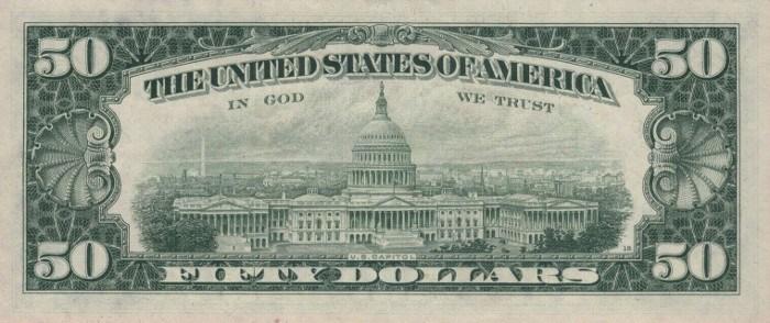 1974 50 Dollar Bill Reverse