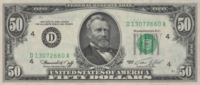 1974 50 Dollar Bill