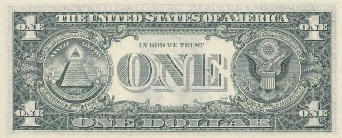 1974 One Dollar Bill Reverse