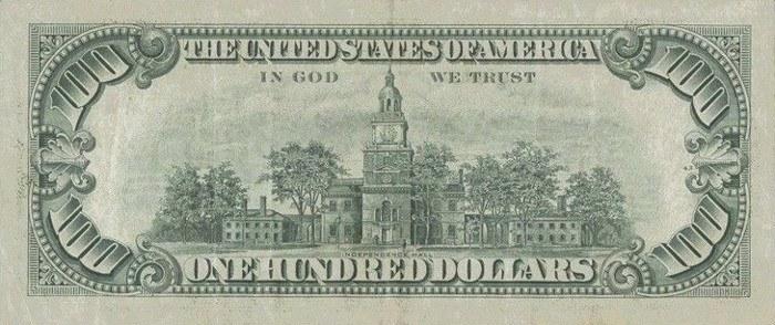 1974 Series 100 Dollar Bill Reverse