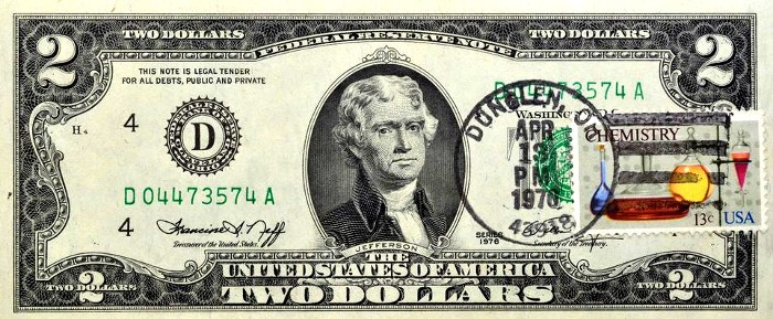 1976 2 Dollar Bill Stamp