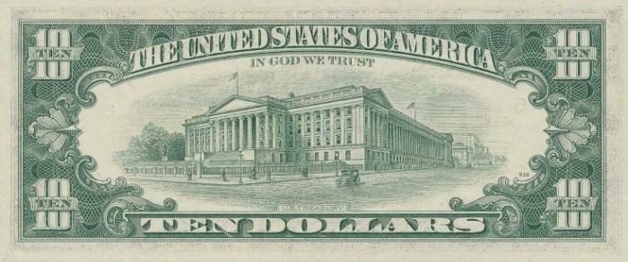 1977 10 Dollar Bill Reverse