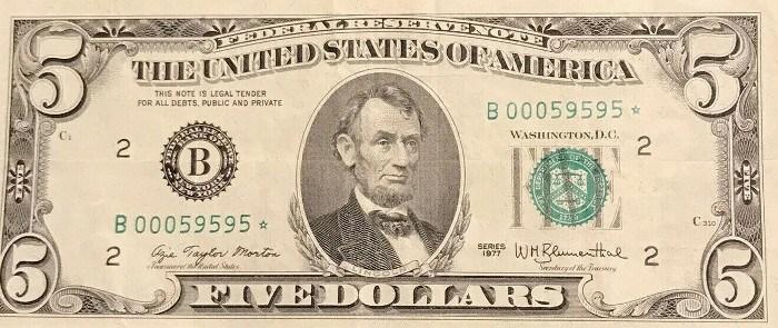 1977 5 Dollar Bill