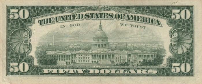 1977 50 Dollar Bill Reverse