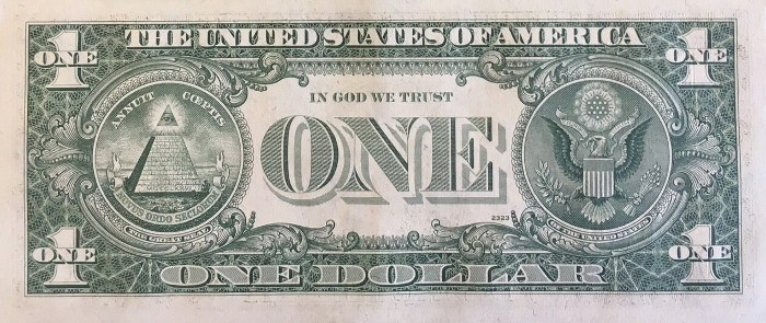 1977 One Dollar Bill Reverse