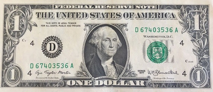 1977 One Dollar Bill