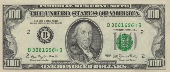 1977 Series 100 Dollar Bill