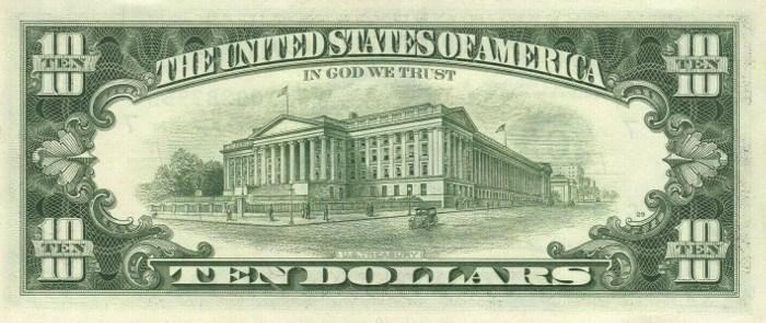 1981 10 Dollar Bill Reverse