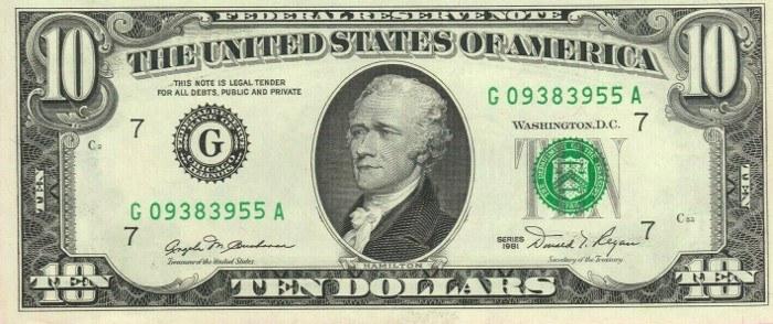 1981 10 Dollar Bill