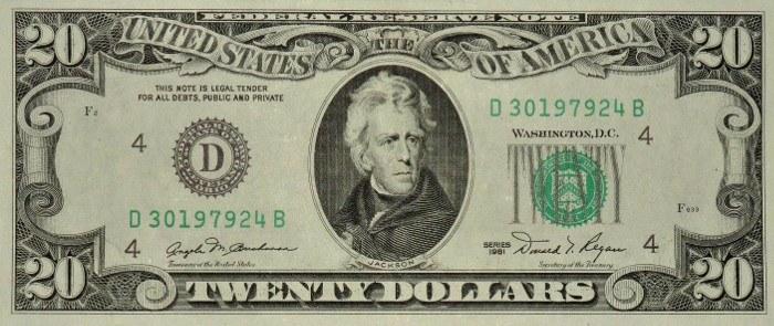 1981 20 Dollar Bill