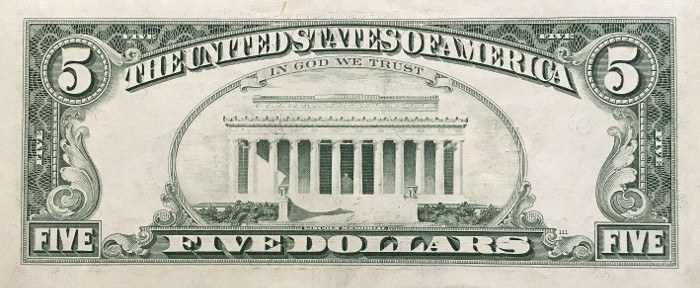 1981 5 Dollar Bill Reverse