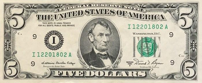 1981 5 Dollar Bill