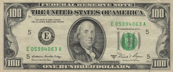 1981 Series 100 Dollar Bill