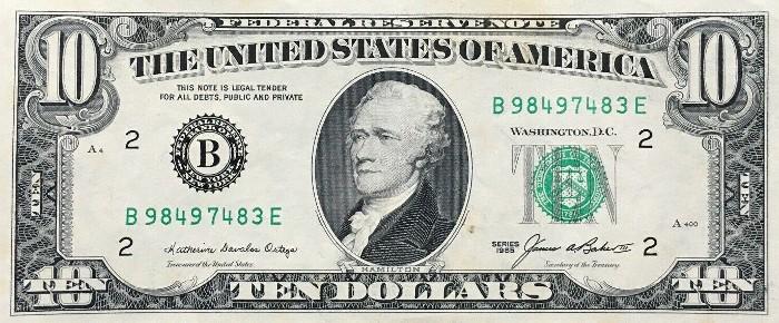 1985 10 Dollar Bill