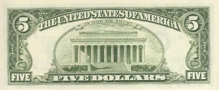 1985 5 Dollar Bill Reverse