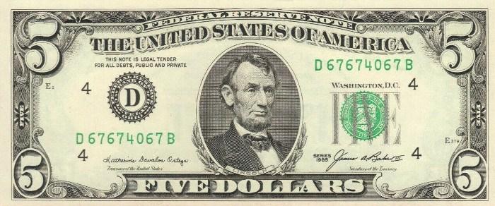 1985 5 Dollar Bill