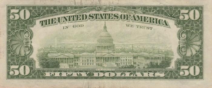 1985 50 Dollar Bill Reverse