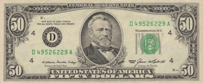 1985 50 Dollar Bill