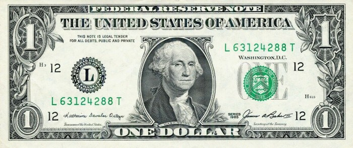 1985 One Dollar Bill
