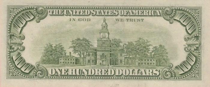 1985 Series 100 Dollar Bill Reverse