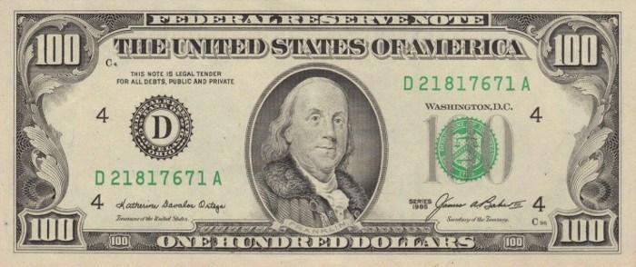 1985 Series 100 Dollar Bill