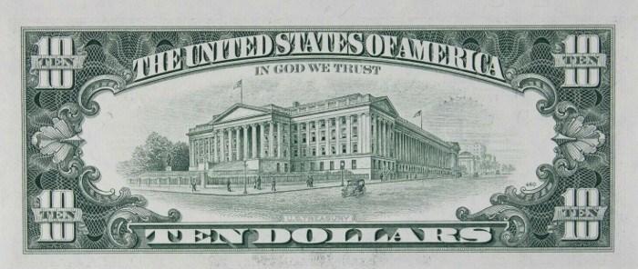 1988 10 Dollar Bill Reverse