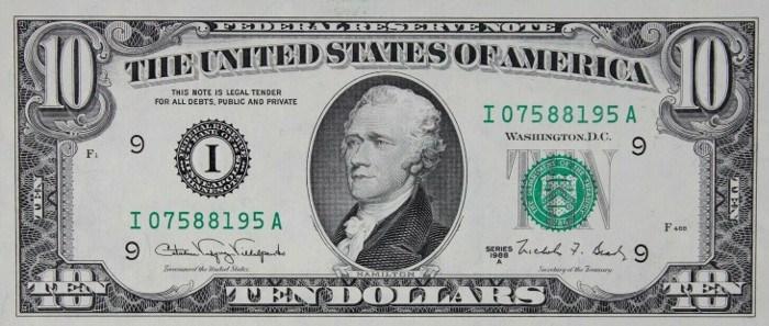 1988 10 Dollar Bill
