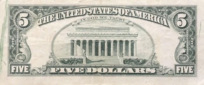 1988 5 Dollar Bill Reverse