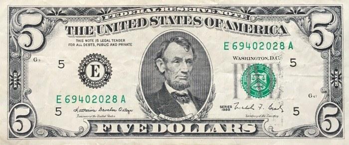 1988 5 Dollar Bill