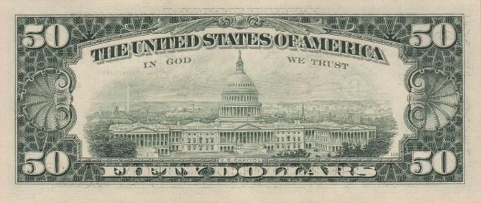 1988 50 Dollar Bill Reverse
