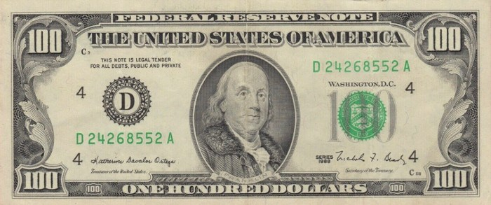 1988 Series 100 Dollar Bill