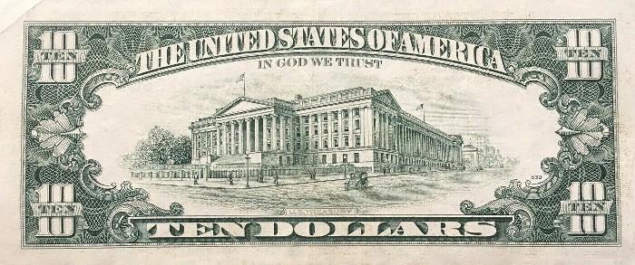 1990 10 Dollar Bill Reverse