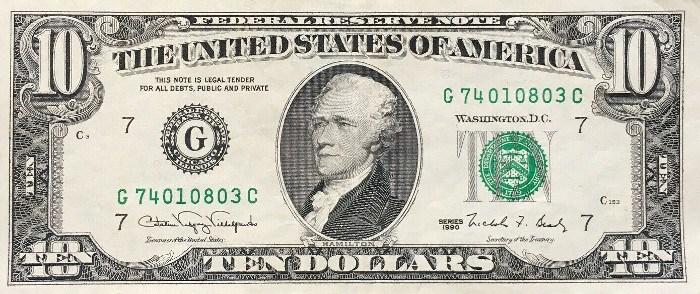 1990 10 Dollar Bill